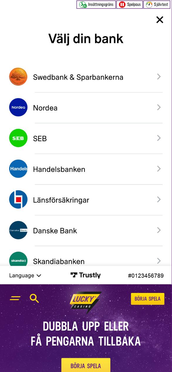 BankID Casino 3 - Välj bank