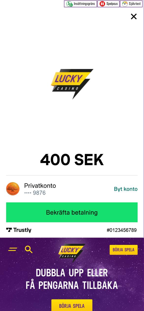 BankID Casino 7 - Bekräfta betalningen
